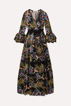Diane von Furstenberg Velvet-trimmed Embroidered Tulle And Satin Maxi Dress - Black