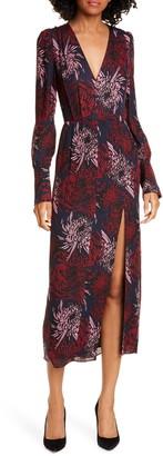 A.L.C. Bailey Floral Long Sleeve Silk Midi Dress