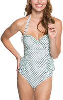Betsey Johnson Spearmint & Black Duo Dot Molded Bump Me Up One-Piece