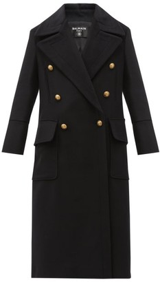 Balmain Oversized Double-breasted Wool-blend Coat - Black