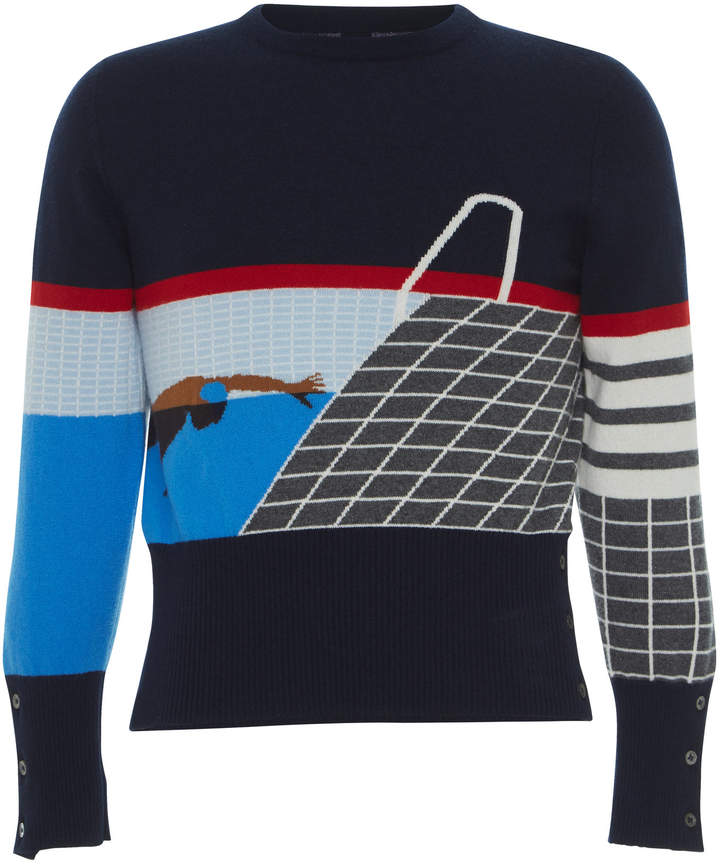 d6bb0c75f1 Thom Browne Blue Men's Cashmere Sweaters - ShopStyle