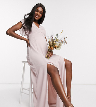 TFNC Maternity bridesmaid plunge front flutter sleeve maxi dress in pink