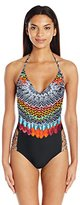 Jessica Simpson Women's Dakota Placement Strap Back Maillot Adjustable Tie One Piece Swimsuit
