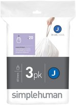 Simplehuman code J custom fit liners 3 x 20pk (60 liners) - White