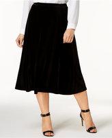 NY Collection Plus Size Velvet Midi Skirt