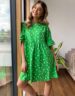 ASOS DESIGN mini smock dress with frill sleeve in green spot