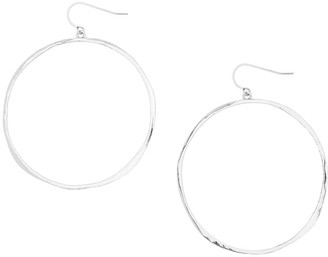 Gorjana G Ring Hoop Drop Earrings, Silver