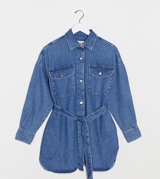 Asos DESIGN Maternity denim oversized belted shirt in midwash blue