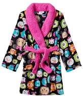 Disney Girls Plush Black & Pink Tsum Tsum Bathrobe Bath Robe