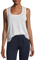 ATM Anthony Thomas Melillo Linen Jersey Striped Sweetheart Tank, White/Black