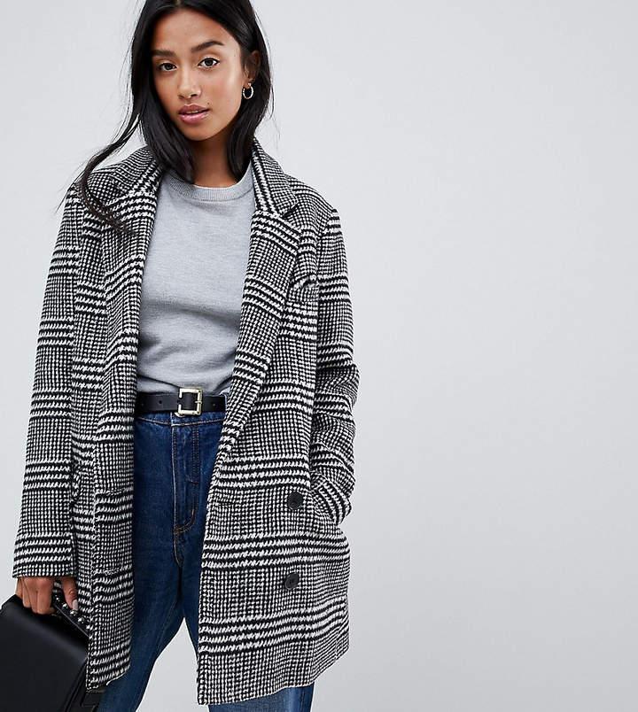 Asos DESIGN Petite slim coat in check
