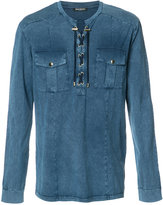 Balmain lace-up detail shirt - men - Cotton - S