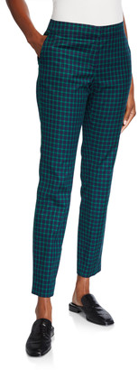Lafayette 148 New York Manhattan Slim Micro Windowpane Plaid Pants