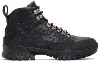 Alyx Black Ostrich Hiking Boots
