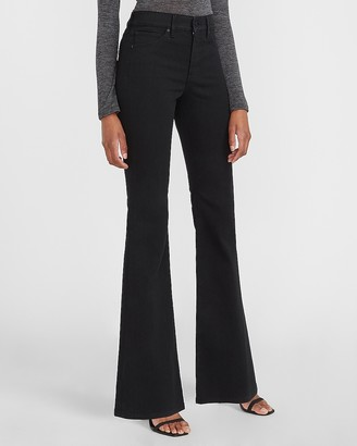 Express Mid Rise Black Flare Jeans