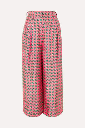 Etro Printed Cropped Silk-twill Wide-leg Pants - Pink