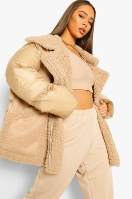 boohoo Fabric Mix Suedette Panel Puffer Jacket