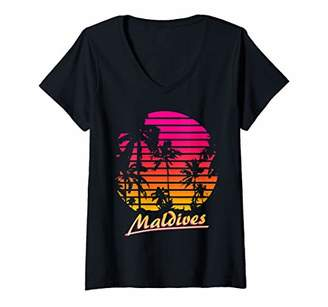 Womens Maldives Cool 80s Palm Trees Summer Sunset V-Neck T-Shirt