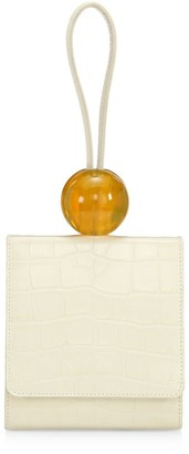 BY FAR Ball Croc-Embossed Leather Wristlet