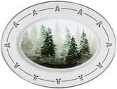 Golden Rabbit Forest Trees Enamel Oval Platter