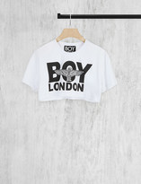 Boy London Cropped logo cotton-jersey t-shirt
