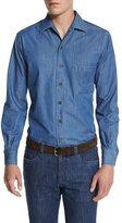 Loro Piana Andre Denim Button-Down Shirt, Indigo