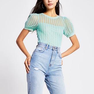River Island Womens Green textured puff sleeve T-shirt