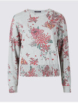 Limited Edition Floral Print Round Neck Long Sleeve T-Shirt
