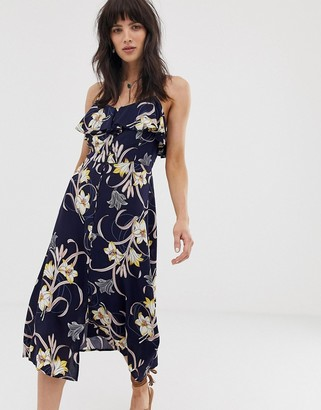 Band of Gypsies ruffle front button down midi dress in navy floral print