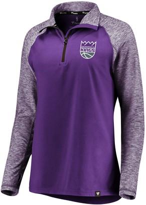 Möve Women's Fanatics Branded Purple/Heathered Purple Sacramento Kings Made to Static Performance Raglan Sleeve Quarter-Zip Pullover Jacket