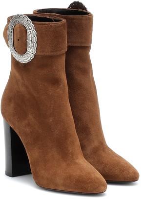 Saint Laurent Joplin embellished suede ankle boots