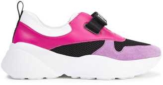 Emilio Pucci Color-block Leather, Mesh And Suede Sneakers