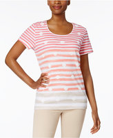 Karen Scott Petite Striped Puff-Seashell Top, Only at Macy's