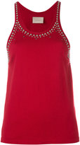 Laneus studded trim vest top
