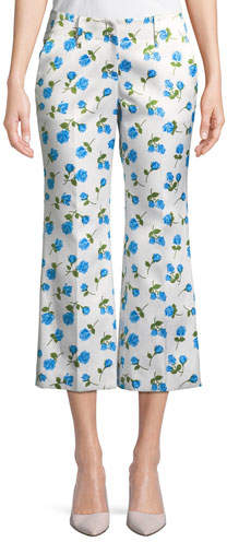 Michael Kors Scattered Rose-Print Flared-Leg Duchess Satin Crop Pants