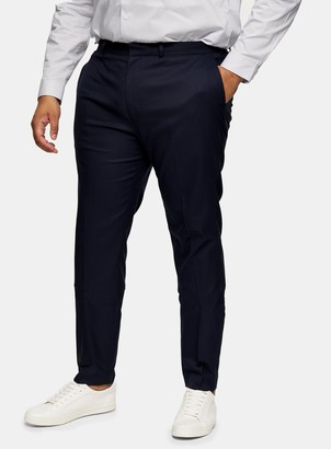 Topman BIG & TALL Navy Textured Skinny Fit Suit Trousers*