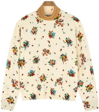 Paco Rabanne Floral-print Roll-neck Wool-blend Jumper