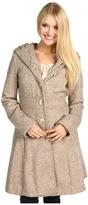 Jessica Simpson Wool Tweed SB Pleated Collar w/Hood Coat (Sand) - Apparel