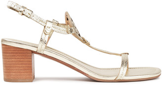 Tory Burch Miller 55 Metallic Cracked-leather Sandals