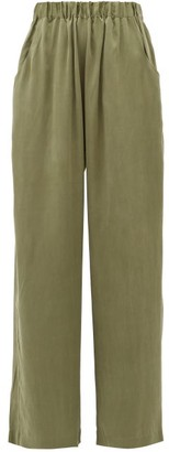 Worme - The Standard Flare High-rise Silk Trousers - Womens - Khaki