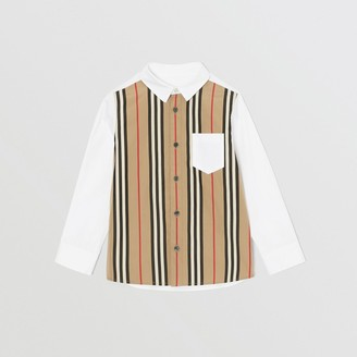 Burberry Icon Stripe Panel Stretch Cotton Shirt