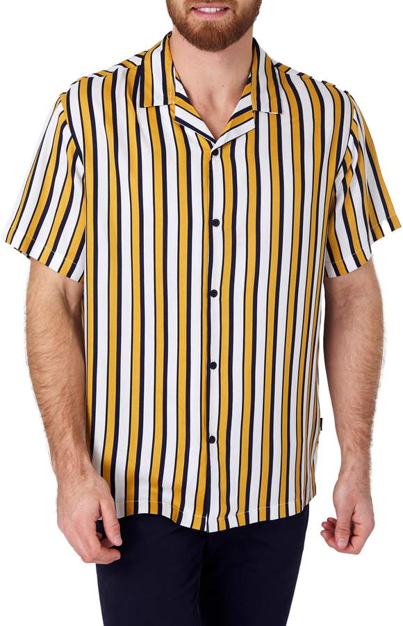 7 Diamonds Ring of Fire Slim Fit Stripe Short Sleeve Camp Shirt