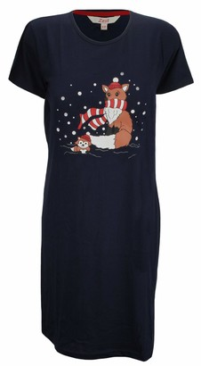 Forever Dreaming Ladies Cotton Jersey Nightshirt with Motif Navy Fox 12/14
