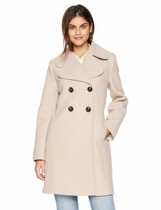 Kensie Women's Thigh Length Notched Lapel Trench Wool Coat