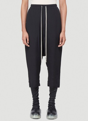 Rick Owens Drop-Crotch Cropped Track Pants