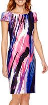 Donna Ricco DR Collection Short-Sleeve Print Scuba Sheath Dress - Petite