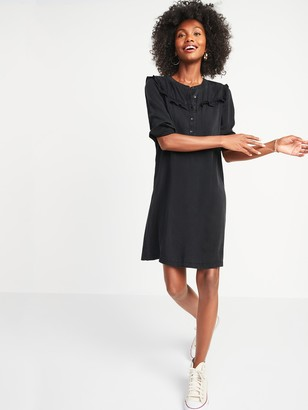 Old Navy Black Chambray Ruffle-Yoke Popover Shirt Dress for Women