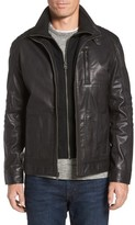 Cole Haan Men's Washed Leather Moto Jacket With Knit Bib