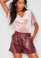 Missy Empire Harmonie Burgundy Faux Leather Shorts
