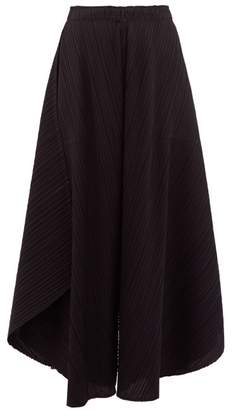 Pleats Please Issey Miyake Curved Pleated Culottes - Womens - Black
